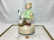 Vtg Ceramic Music Box Willitts Toyland A8 Young Girl W/th Rocking Horse And Horn