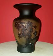 6.5 Émille Gallé Style Brown And Amber Floral Frosted Raised Glass Vase Mint