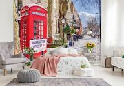 3d Winter Phone Booth G39 Wallpaper Mural Self-adhesive Removable Assaf Frank Am