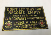 Richlandtown Quakertown Pa Old Company's Lehigh Anthracite Coal Bin Plate Sign