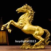 Pure Brass Copper Chinese Zodiac Wealth Fengshui Animal Tang Horse Steed Statue