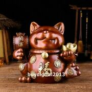 Pure Bronze Copper Chinese Wealth Fengshui Animal Fortune Cat Statue Saving Pot