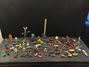 Vintage Lot Of 75 Plastic Toys And Animals Many Made In Hong Kong