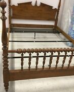 Ethan Allen Heirloom Nutmeg Maple Colonial Pediment Bedfour Poster Full/queen