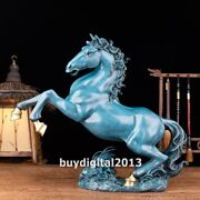 Pure Bronze Handpainted Chinese Zodiac Fengshui Animal Wealth Horse Steed Statue
