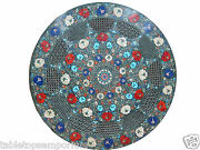 2and039x2and039 Marble Round Mosaic Filigree Coffee Top Table Semi Gems Inlay Home Decor