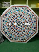 36 White Marble Side Dining Table Top Multi Stone Inlay Pietra Dura Home Decor