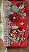 For Galaxy Note 10 Pro Betty Boop Wallet Case Red Jeweled Removable Inner Case