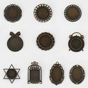 10x Bronze Round/oval Lace Blanks Cameo Cabochon Settings Jewellry Brooch Pins