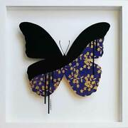 Veebee Butterfly Royal Blue-gold Original Painting On Glass