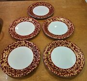 5 Dinner Plates F. Giorgio By Varm Ceramicadk Red With Gold Scrolls11 3/4