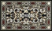 5and039x2.5and039 Marble Dining Table Top Random Pietra Dura Inlay Hallway Occasion Decor