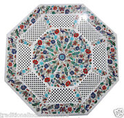 2and039x2and039 Marble Side Table Top Inlay Multi Stone Mosaic Decorative Christmas Gifts