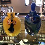 Pair Of Yellow And Blue Signed Italian Art Glass Perfume Bottles With Stoppers