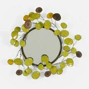 Curtis Jere Raindrops Mirror Usa 1968 Enameled Steel Copper Mirrored Glass