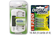 8 Bay Aa/aaa Lcd Battery Charger + 16-pack Aaa 1200 Mah Accupower Nimh Batteries
