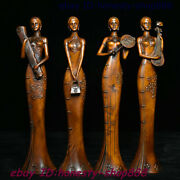 Old Chinese Boxwood Wood Carving 4 Beautiful Woman Beauty Belle Femme Statue Set