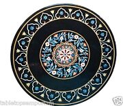 24x24 Black Marble Top Side Table Marquetry Outdoor Mosaic Inlay Bedroom Decor