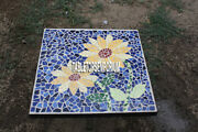 36and039and039 Marble Side Dining Table Top Lapis Stone Floral Marquetry Inlay Home Decor