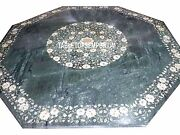 36 Green Marble Marquetry Top Table Gems Mother Of Pearl Inlay Occasional Decor