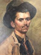 Portrait Young Man With Hat Oil On Canvas Antique French Painting
