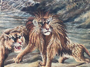 Tapestry Japan Xix ° Th Asian Lions Antique Japanese Tapestry Asian 19th