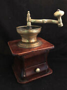 Mill Coffee Xix ° Th Century Wood Bronze Antique French Coffee Grinder