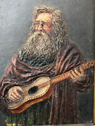 Man With Guitar Painting And Collage Fabric Dated 1896 Painting 19th