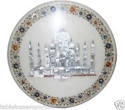 18 White Marble Coffee Table Top Mosaic Tajmahal Marquetry Inlay Home Decor