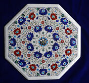 21 White Marble Corner Top Table Carnelian Lapis Gems Inlay New Year Home Decor