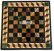 24'' Marble Chess Coffee Table Top Marquetry Stone Inlay Playroom Home Decor