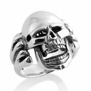 Azaggi Sterling Silver Ring Large Skull Biker Motorcycle Born To Ride Moving Jaw
