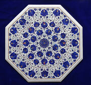 24 White Marble Table Top Lapis Lazuli Inlay Design Marquetry Furniture Decor