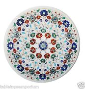 24x24 White Marble Decorative Mosaic Coffee Table Top Inlay Marquetry Decor