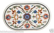 24x36 White Marble Center Dining Table Top Floral Gemstones Inlay Home Decor