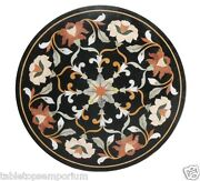 24x24 Black Marble Coffee Table Top Marquetry Inlay Pietra Dura Home Decor