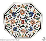 24x24 Marble Coffee Marquetry Table Top Floral Work Inlay Mosaic Home Decor