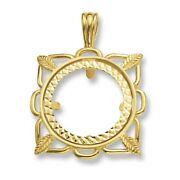 9ct Gold Fancy Square Full Coin Mount Necklace