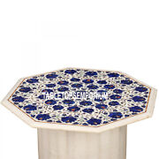 24and039and039 White Marble Top Center Table With Stand Lapis Mosaic Inlay Christmas Decor