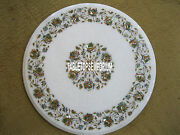 28 White Marble Side Table Top Semi Precious Pauashell Inlay Occasional Decor