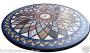30x30 Black Marble Coffee Table Top Marquetry Mosaic Gemstone Inlay Home Decor