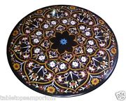 30x30 Black Marble Side Table Top Marquetry Inlay Furniture Home Decor Gifts