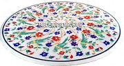 30 White Marble Center Round Coffee Top Table Parrot Art Inlay Inlay Home Decor