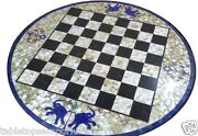 30x30 Marble Chess Coffee Table Top Mother Of Pearl Elephant Inlay Decor Gifts