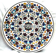30and039and039 White Marble Coffee Table Top Marquetry Multi Floral Art Inlay Home Decor