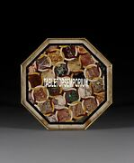 30 Marble Top Center Coffee Table Marquetry Inlay Occasional Furniture Decor