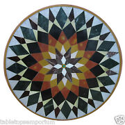 30x30 Marble Coffee Table Top Inlay Gemstone Marquetry Restaurant Decorative