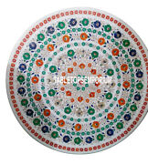 30 White Marble Coffee Table Top Multi Gems Inlay Christmas Outdoor Home Decor