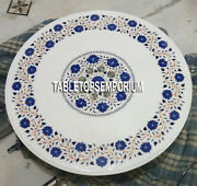30 White Marble Coffee Side Table Top Lapis Marquetry Inlay Mosaic Home Decor
