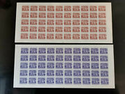 Vietnam South 1956 Sc 37+38 Imperforated Panes Of 50. Rare, Few Stains Nhf/vf